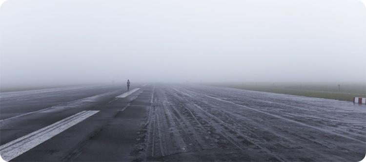 foggy runway airport