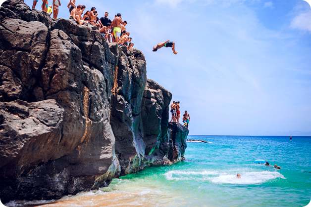 Jump from the cliff