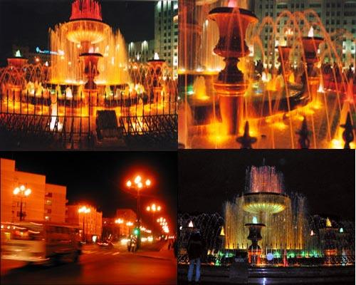 Хабаровские фонтаны ночью