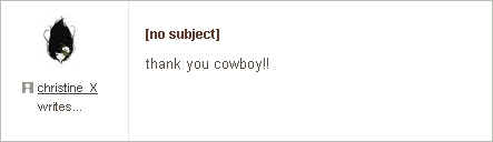 Audioscrobbler private message: thank you, cowboy