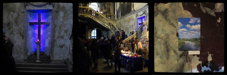Annenkirche: cross, annual christmas fair, walls