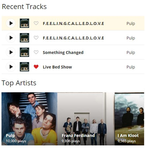 Pulp 10000 tracks on last.fm