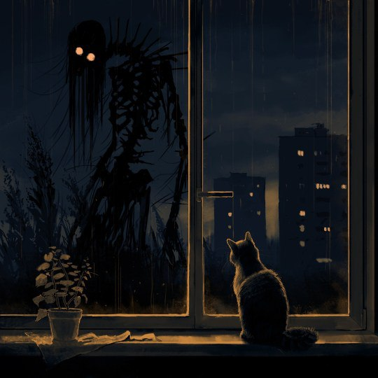 Cat on a  windowsill and a monster outside