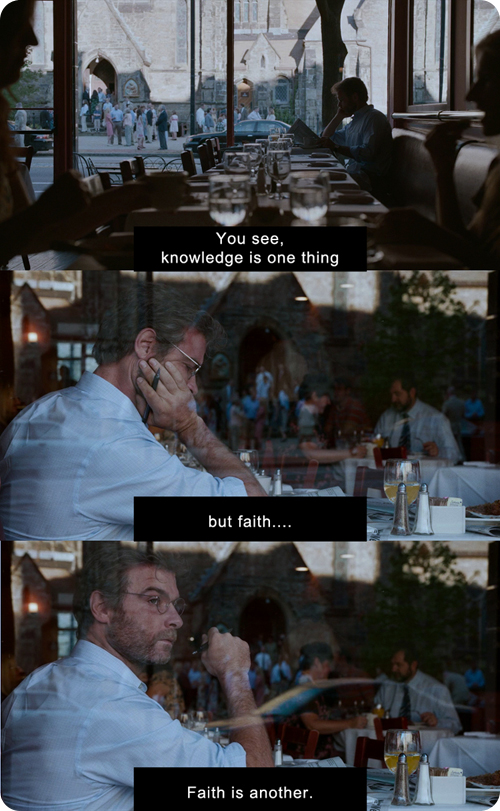 Spotlight scene: Knowledge is one thing, but faith...