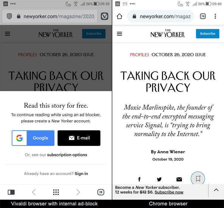 New Yorker privacy hypocrisy