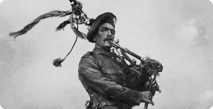 Scottish piper in WWI