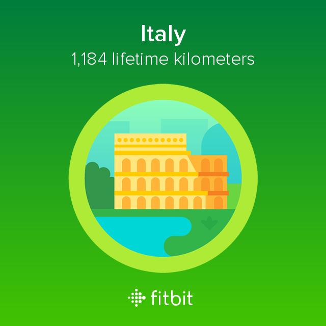 Fitbit: Italy milestone - 1184 kilometres