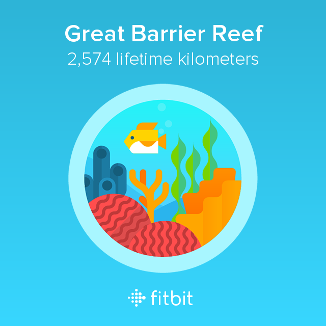 Fitbit: Great Barrier Reef milestone - 2574 kilometres