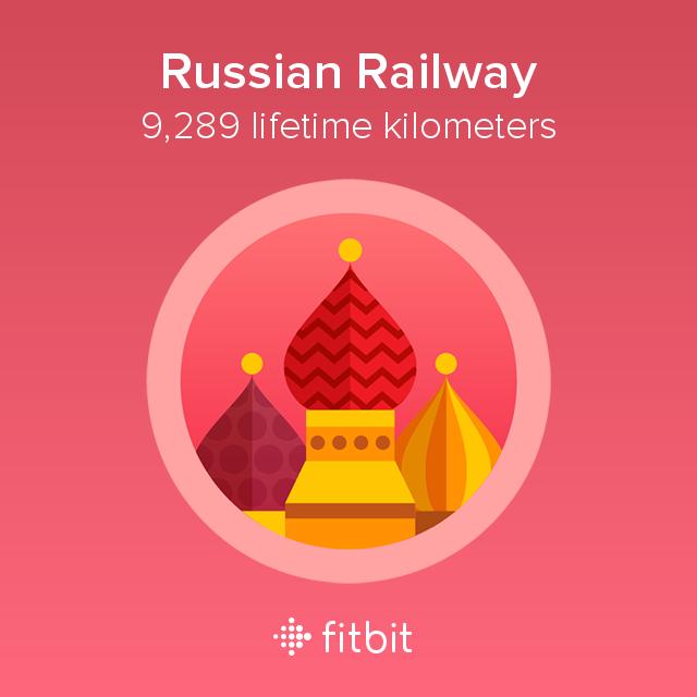 Fitbit: Russian Railway milestone - 9289 kilometres