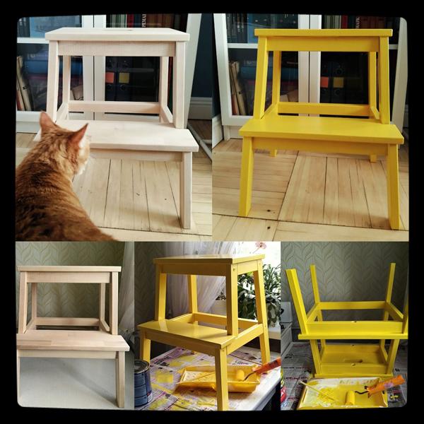 Окрашивание стула - процесс