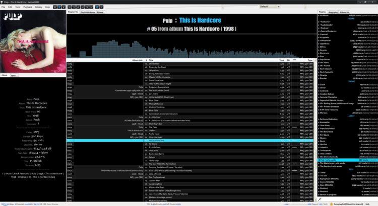 foobar2000 in 2009-2020 - black-blue custom theme for Brumal config, visualization & playlist