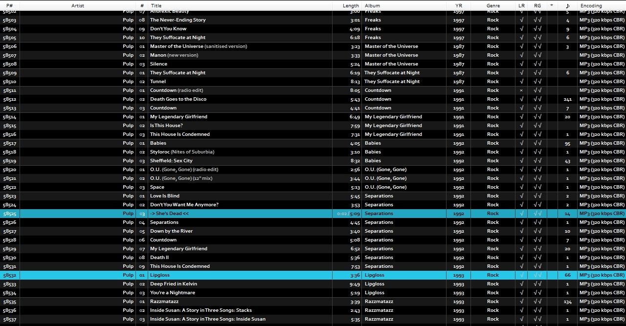 foobar2000: azrael mod by kuzzzma - All Music playlist without art