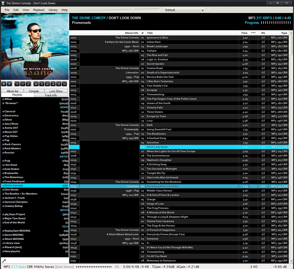 foobar2000 in june 2007 - black-blue custom theme for Brumal config and album mode