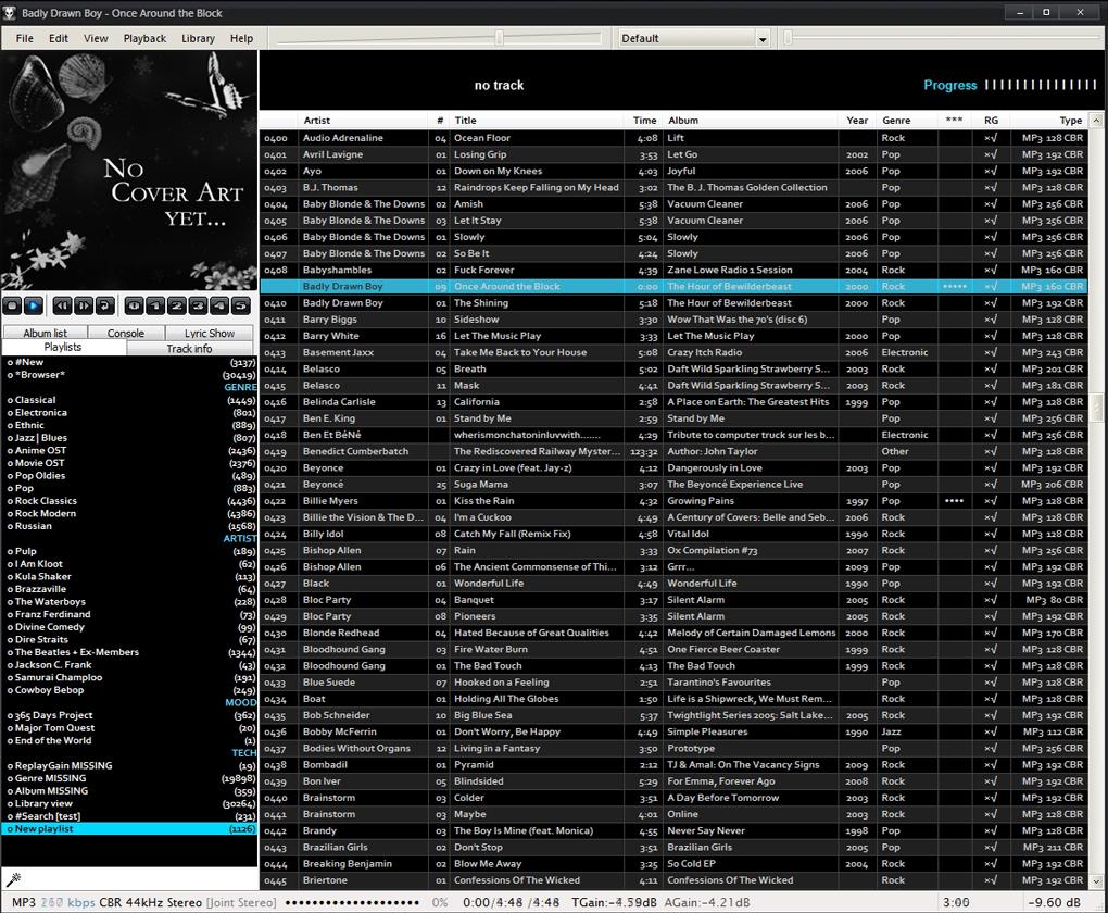 foobar2000 in june 2007 - black-blue custom theme for Brumal config and singles mode