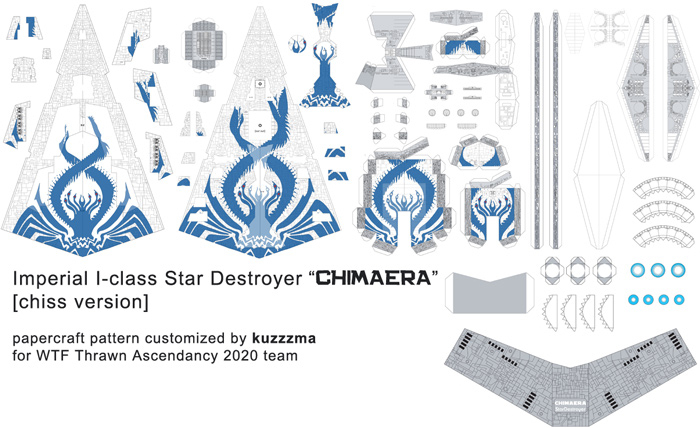 Imperial I-class Star Destroyer Chimaera papercraft Blue preview