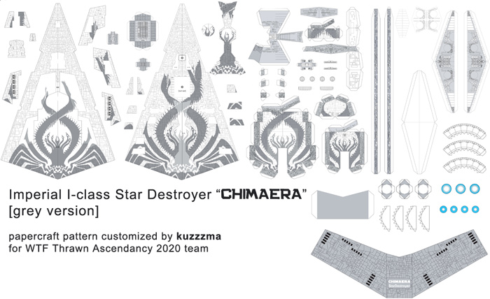 Imperial I-class Star Destroyer Chimaera papercraft Grey preview
