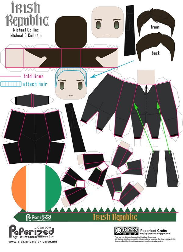 Michael Collins / Mícheál Ó Coileáin (Irish leader) papertoy - How-to