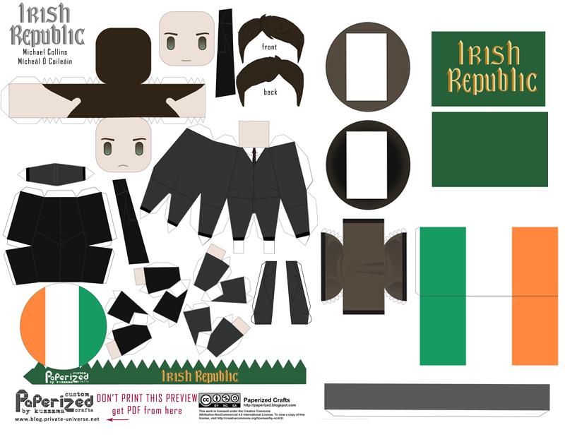 Michael Collins / Mícheál Ó Coileáin (Irish leader) papertoy pattern preview