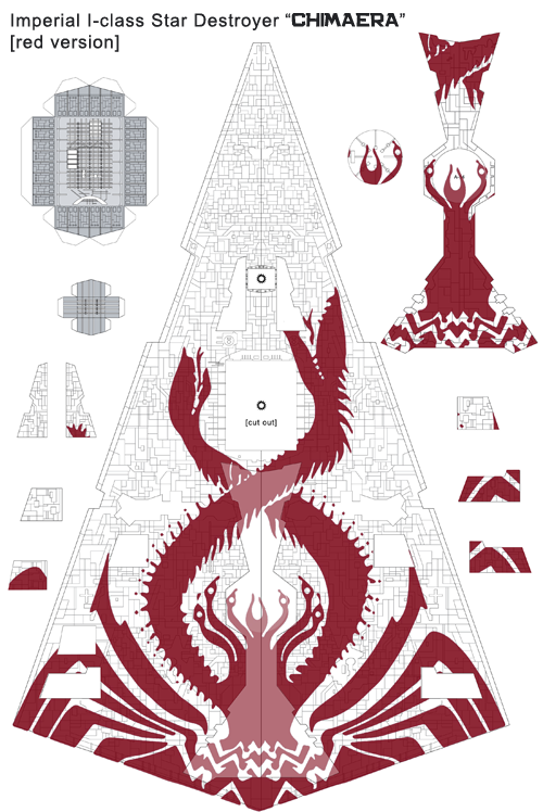 Imperial I-class Star Destroyer Chimaera papercraft Red preview