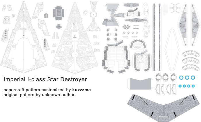 Imperial I-class Star Destroyer papercraft preview