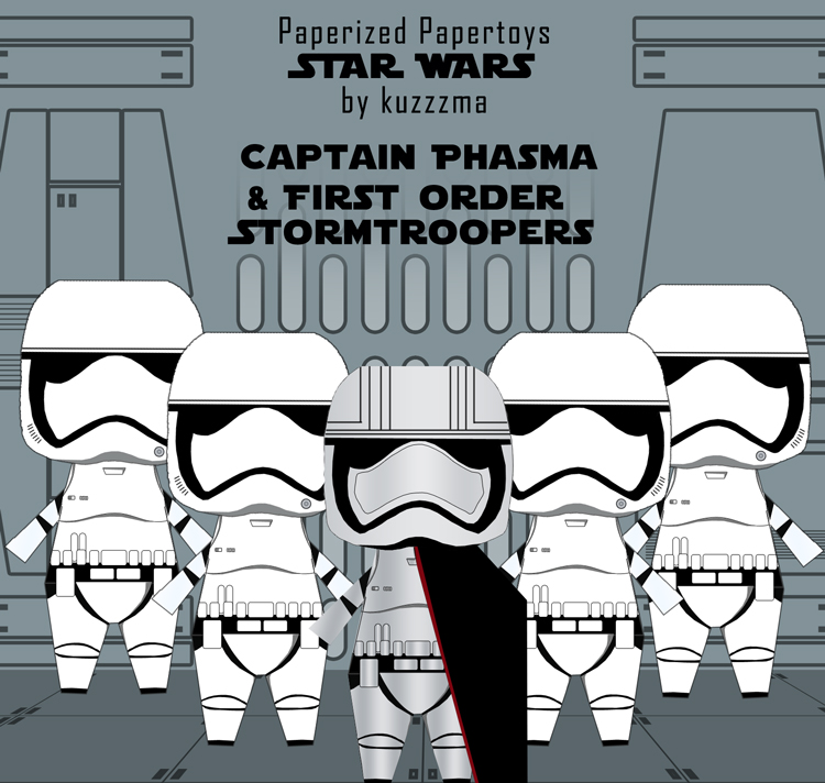 Paperized Star Wars paper toy - First Order Stormtroopers and Captain Phasma pattern preview