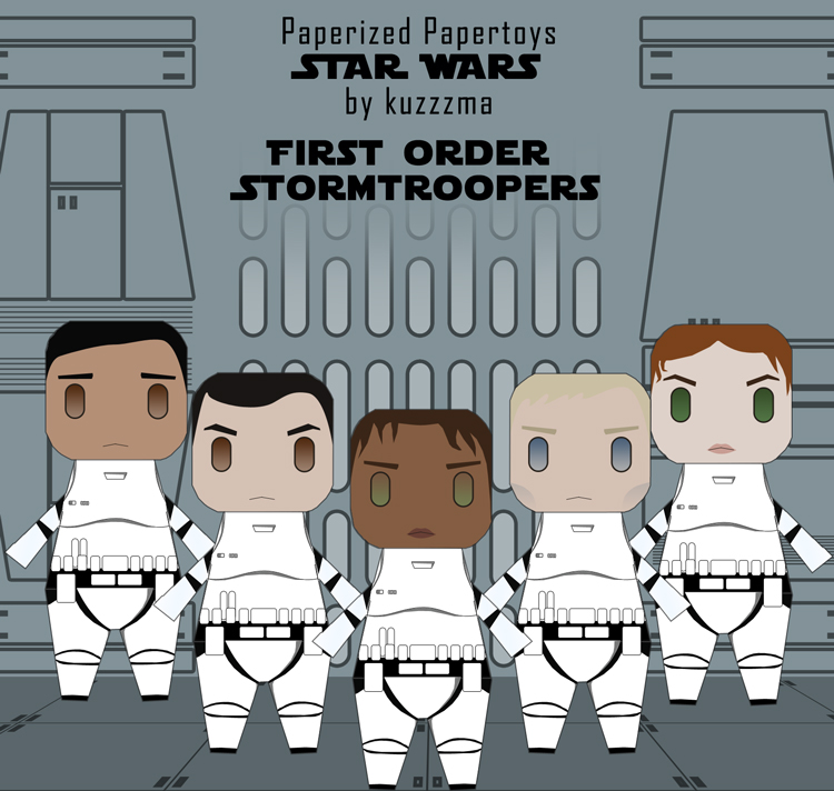 Paperized Star Wars paper toy - First Order Stormtroopers unmasked preview