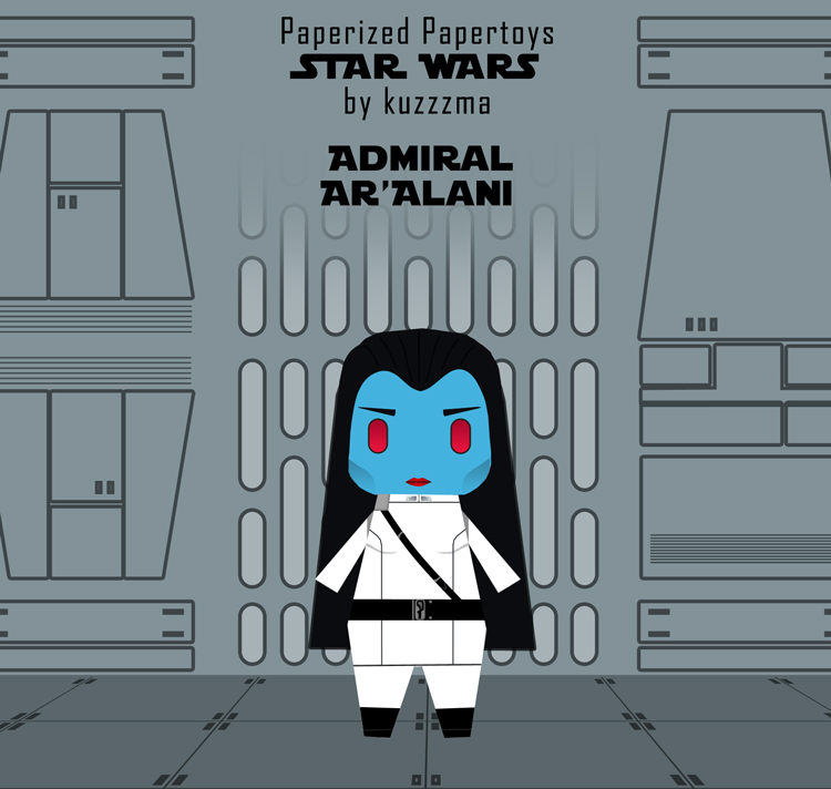 Paperized Star Wars paper toy - Admiral Ar'alani preview