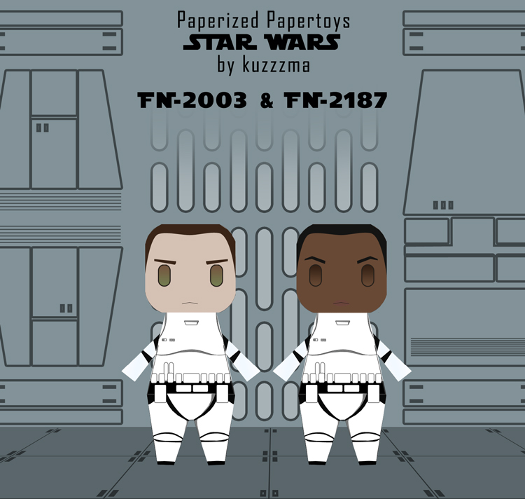 Paperized Star Wars paper toy - Stormtroopers Finn and Slip unmaskedpreview