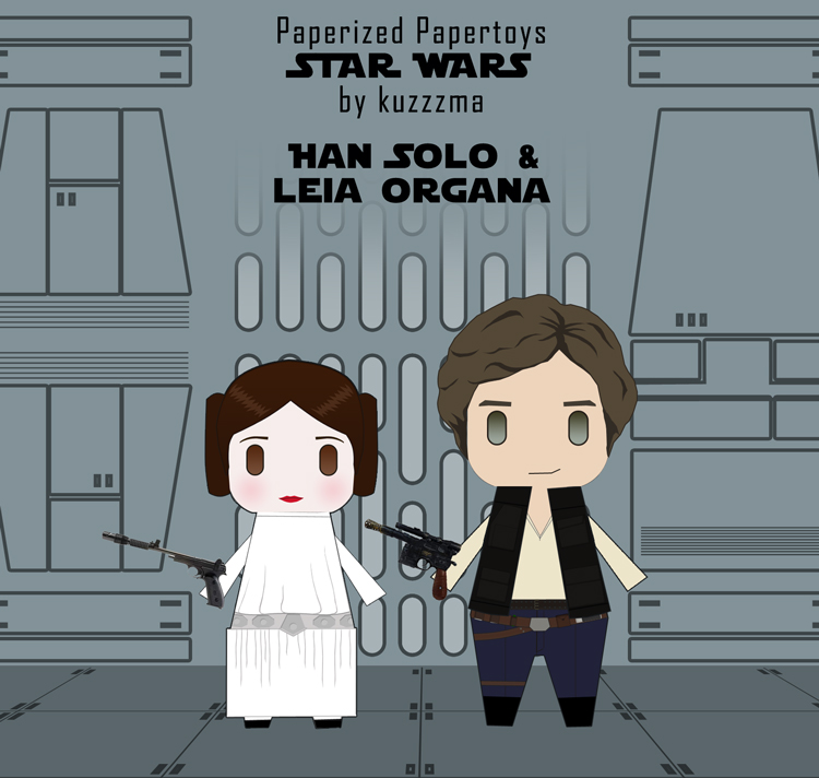 Paperized Star Wars paper toy - Han Solo and Leia Organa preview