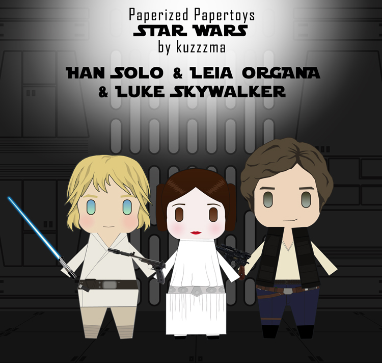 Paperized Star Wars paper toy - Han Luke and Leia preview