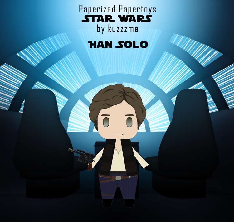 Paperized Star Wars paper toy - Han Solo abroad Falcon preview