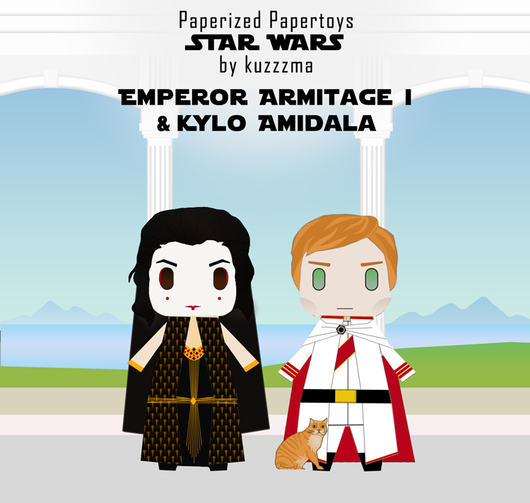 Paperized Star Wars paper toy - Emperor Hux & Kylo Amidala