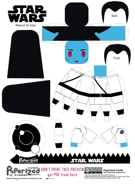 Paperized Star Wars paper toy - Admiral Ar'Alani pattern preview