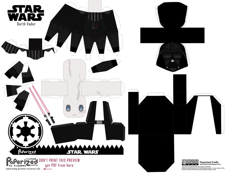 Paperized Star Wars paper toy - Darth Vader pattern preview
