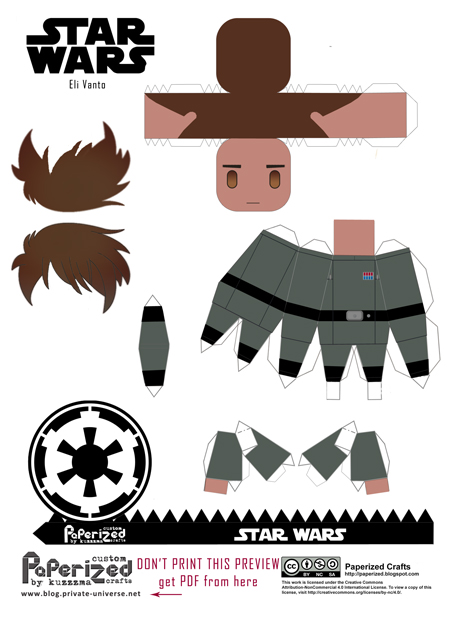 Paperized Star Wars paper toy - Eli Vanto pattern preview