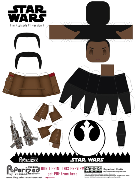 Paperized Star Wars paper toy - Finn (Episode VII) pattern preview