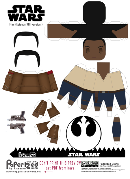 Paperized Star Wars paper toy - Finn (Episode VIII) pattern preview