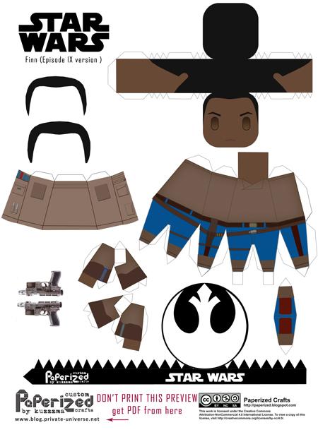 Paperized Star Wars paper toy - Finn (Episode IX) pattern preview