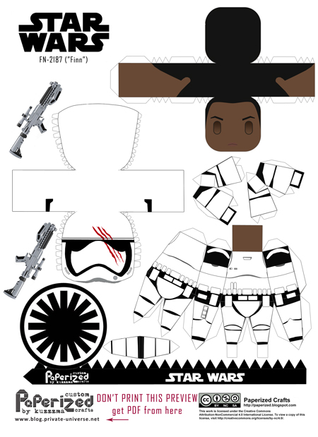 Paperized Star Wars paper toy - FN-2187 Finn Stormtrooper pattern preview