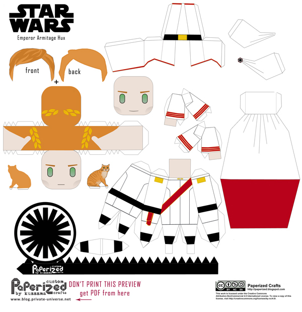 Paperized Star Wars paper toy - Emperor Hux & Millie pattern preview
