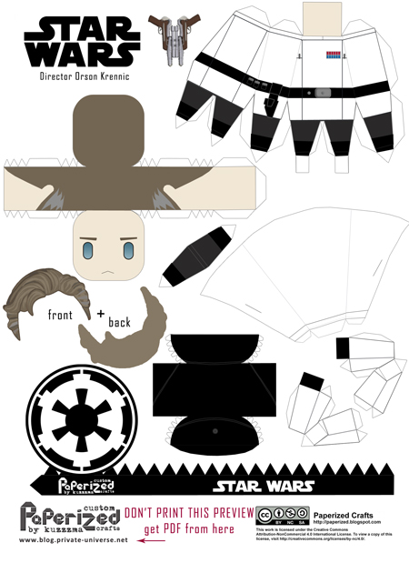 Paperized Star Wars paper toy - Director Krennic pattern preview