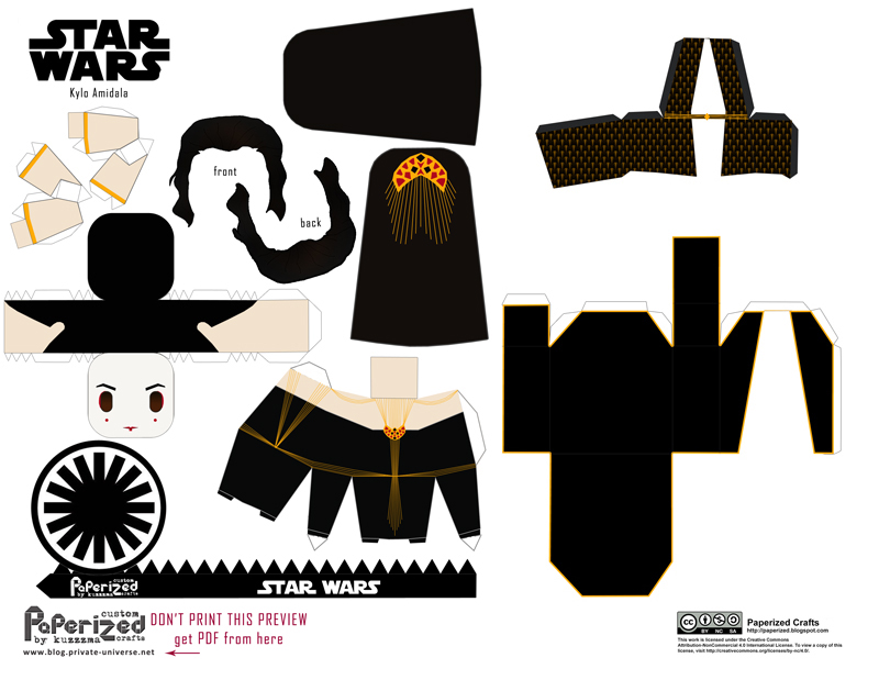 Paperized Star Wars paper toy - Kylo Amidala pattern preview