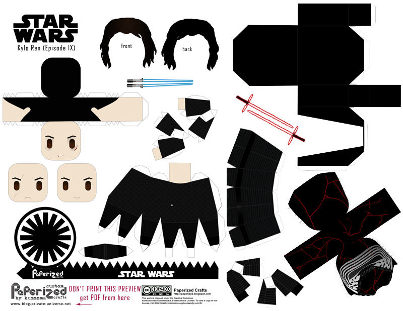 Paperized Star Wars paper toy - Kylo Ren (Episode IX) pattern preview