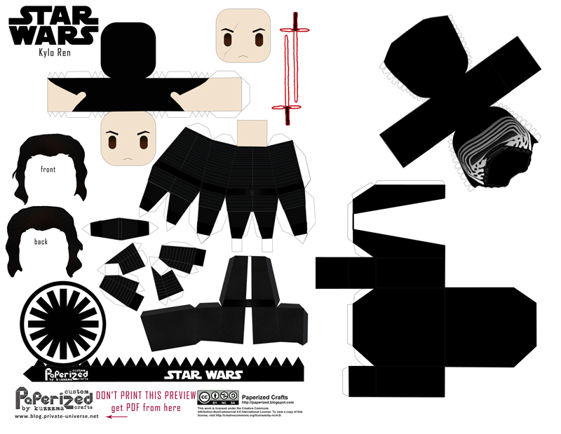 Paperized Star Wars paper toy - Kylo Ren pattern preview