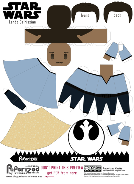 Paperized Star Wars paper toy - Lando Calrissian pattern preview