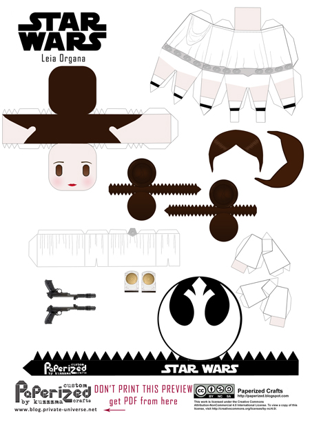 Paperized Star Wars paper toy - Leia Organa pattern preview