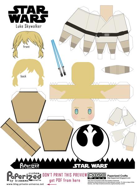 Paperized Star Wars paper toy - Luke Skywalker pattern preview