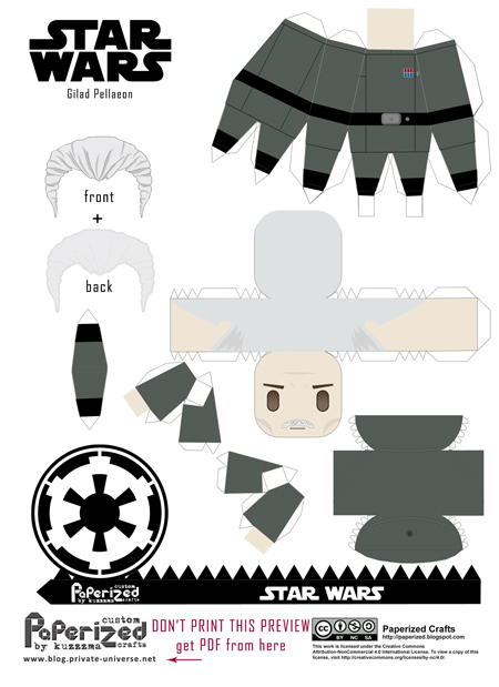 Paperized Star Wars paper toy - Gilad Pellaeon pattern preview