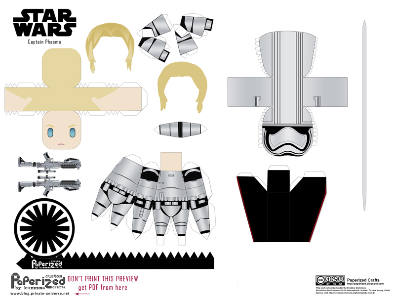 Paperized Star Wars paper toy - Captain Phasma pattern preview
