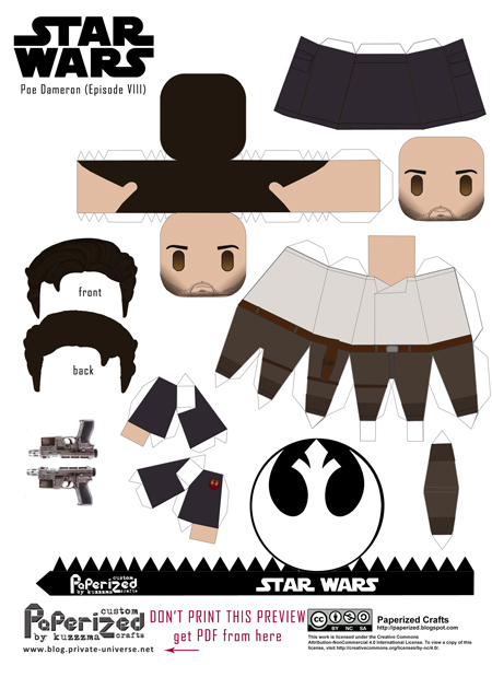 Paperized Star Wars paper toy - Poe Dameron (Episode VII) pattern preview